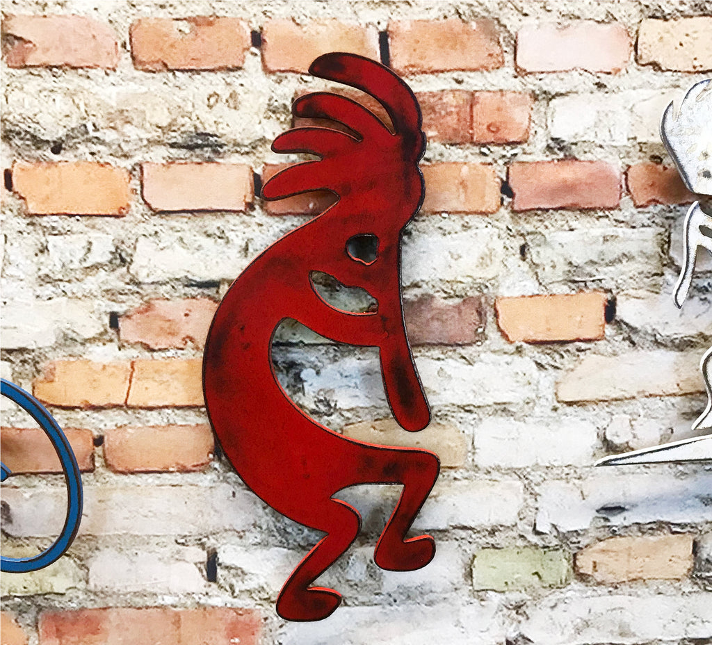 Kokopelli map metal wall art home decor handmade by Functional Sculpture LLC