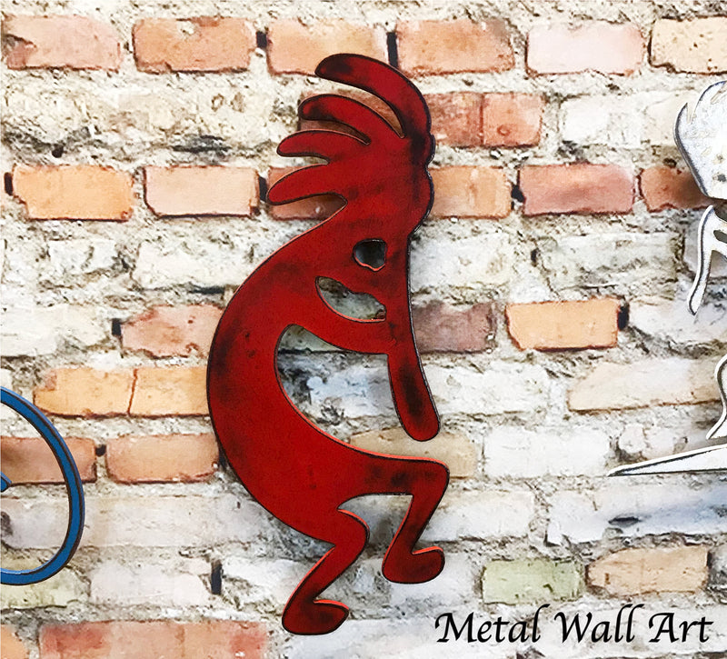 Custom Order - Kokopelli - 3.5 feet tall x 17.5 inches wide - finished in Rusty Sea Blue - Metal Wall Art Home Decor
