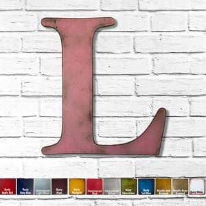 "Letter L - Metal Wall Art Home Decor - Made in the USA - Choose 10"", 12"" or 16"" Tall - Choose your Patina Color! Choose any letter FREE SHIPPING"