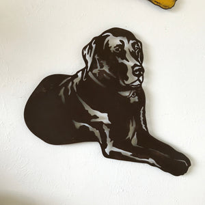 "Labrador Retriever Laying - Metal Wall Art Home Decor - Handmade in the USA - Choose 11"", 17"" or 23"" Wide - Choose your Patina Color! FREE SHIP"
