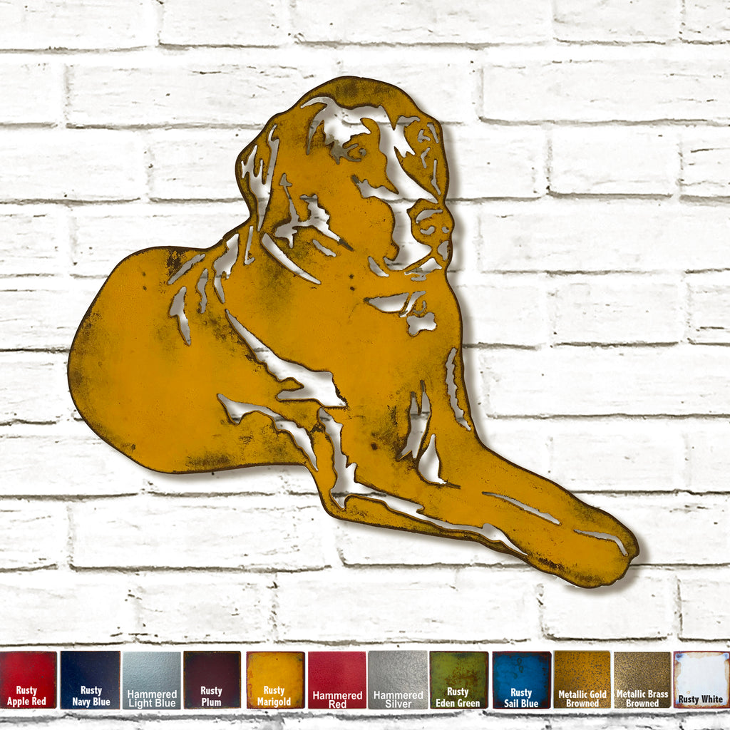 Labrador retriever laying dog shaped metal wall art home decor handmade by Functional Sculpture llc