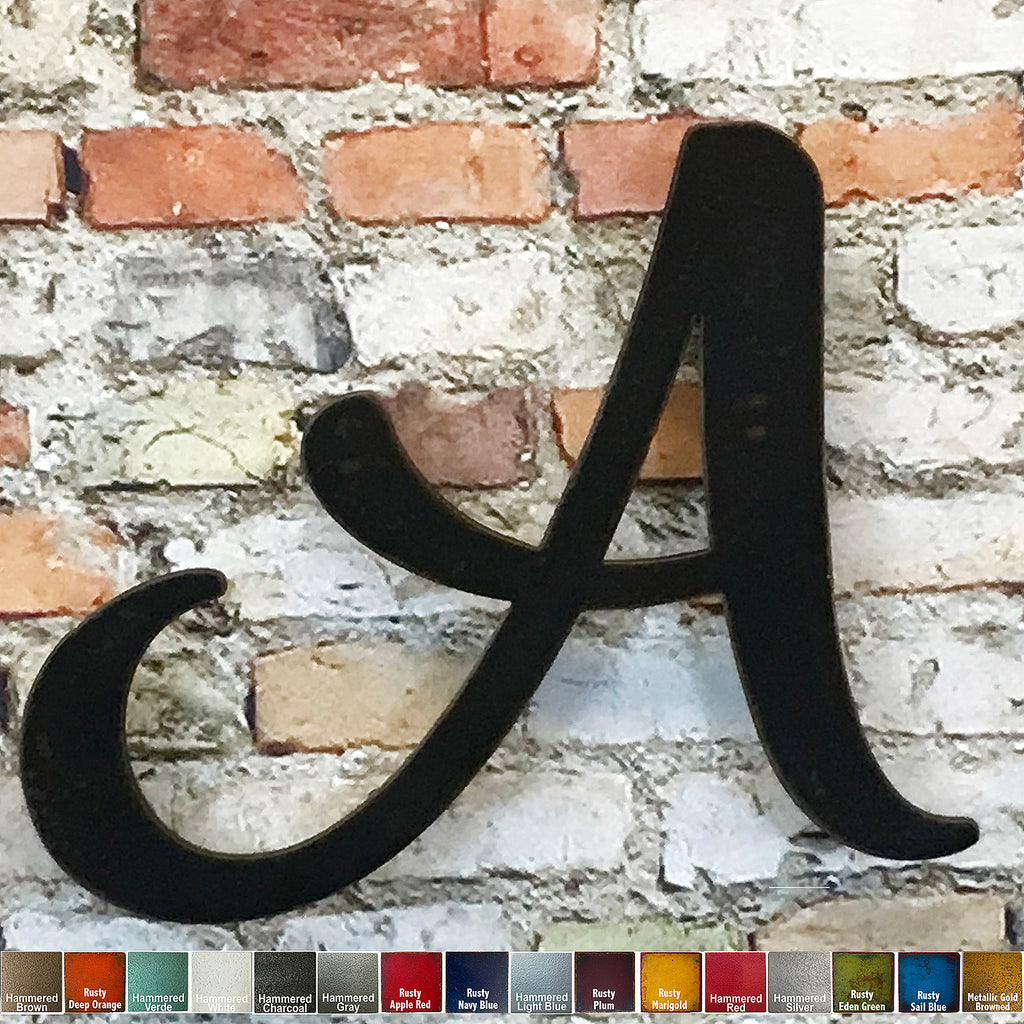 "Letter A - Karlie Font - Metal Wall Art Home Decor - Made in USA - Choose 8"", 12"" or 16"" Tall - Choose Patina Color! Choose any letter FREE SHIP"