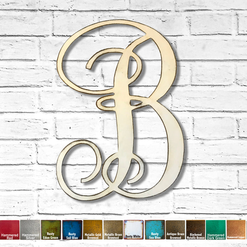 Letter B - Monogram Font - Metal Wall Art Home Decor - Made in USA - Choose 8