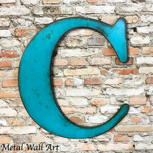 alphabet letter c metal wall art home decor cutout handmade by Functional Sculpture llc