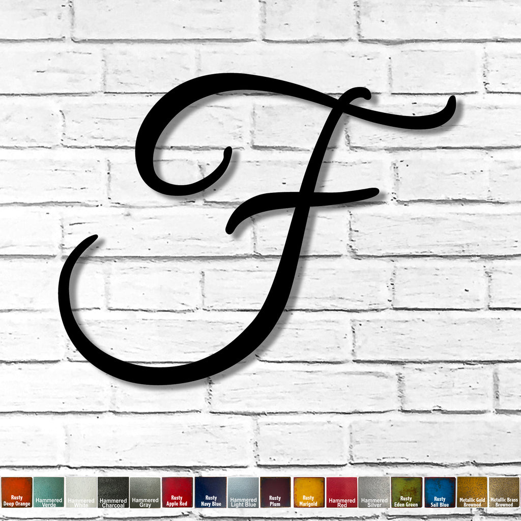 "Letter F - Great Vibes Font - Metal Wall Art Home Decor - Handmade in the USA - Measures 21"" wide x 16.5"" tall - Choose your Patina Color! FREE SHIPPING"