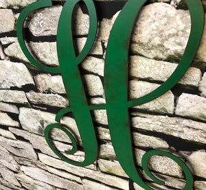 "Letter H - Monogram Font - Metal Wall Art Home Decor - Made in USA - Choose 8"", 12"" or 16"" Tall - Choose Patina Color! Choose any letter FREE SHIP"