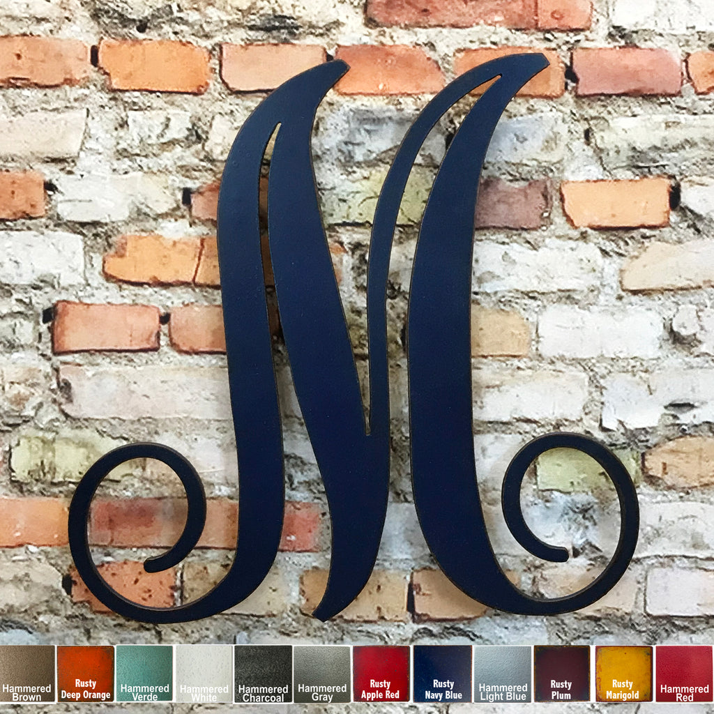 monogram letter m metal wall art home decor cutout handmade by Functional Sculpture llc