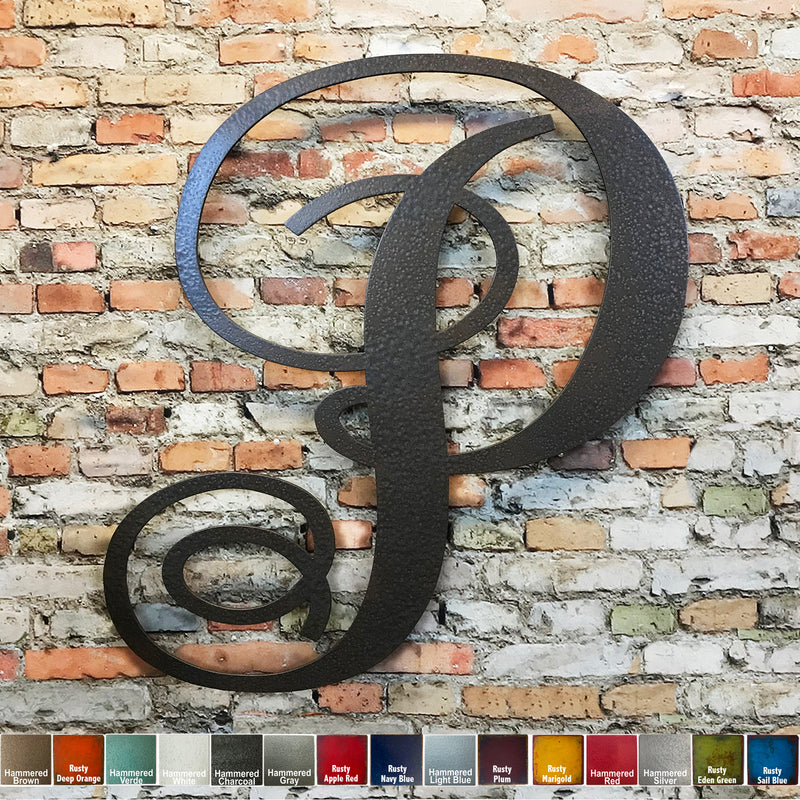 monogram letter p metal wall art home decor cutout handmade by Functional Sculpture llc