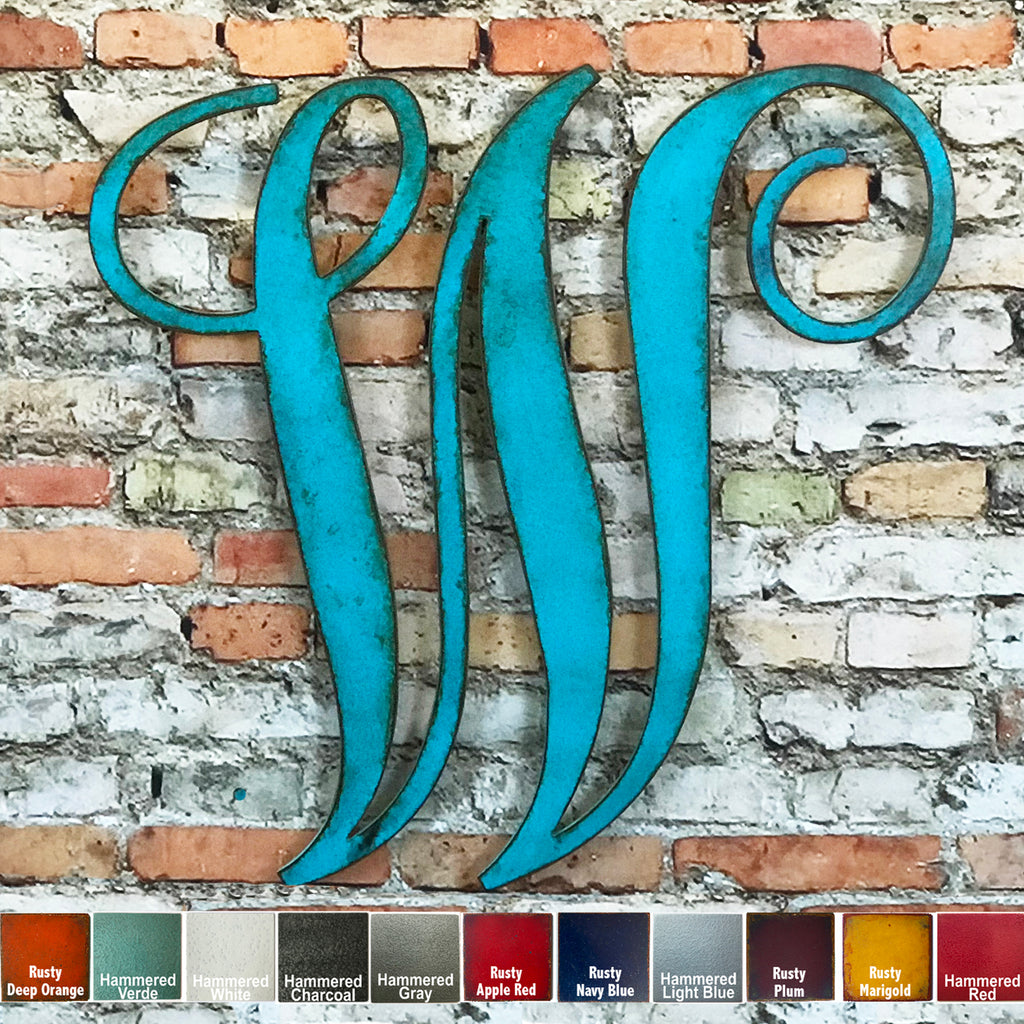 monogram font letter w metal wall art home decor cutout handmade by Functional Sculpture llc