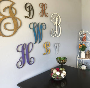 "Letter M - Monogram Font - Metal Wall Art Home Decor - Made in USA - Choose 8"", 12"" or 16"" Tall - Choose Patina Color! Choose any letter FREE SHIP"