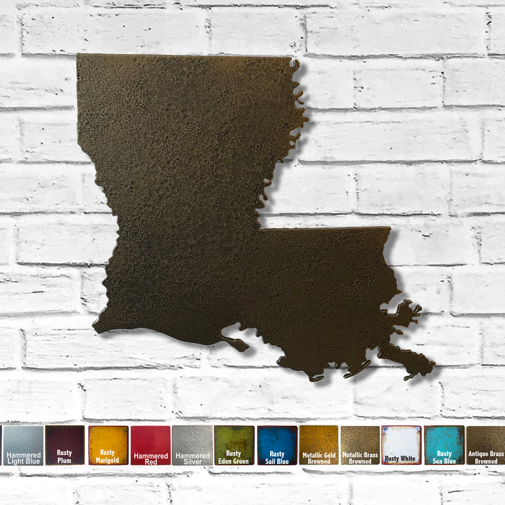 Louisiana map metal wall art home decor handmade by Functional Sculpture LLC
