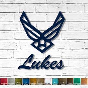 "Custom Order - 17"" Air Force Symbol and  17"" wide Lukes - Both finished in Rusty Navy Blue"