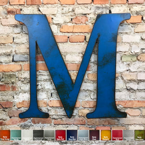 alphabet letter m metal wall art home decor cutout handmade by Functional Sculpture llc