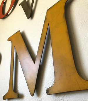 "Letter M - Metal Wall Art Home Decor - Made in the USA - Choose 10"", 12"" or 16"" Tall - Choose your Patina Color! Choose any letter FREE SHIPPING"