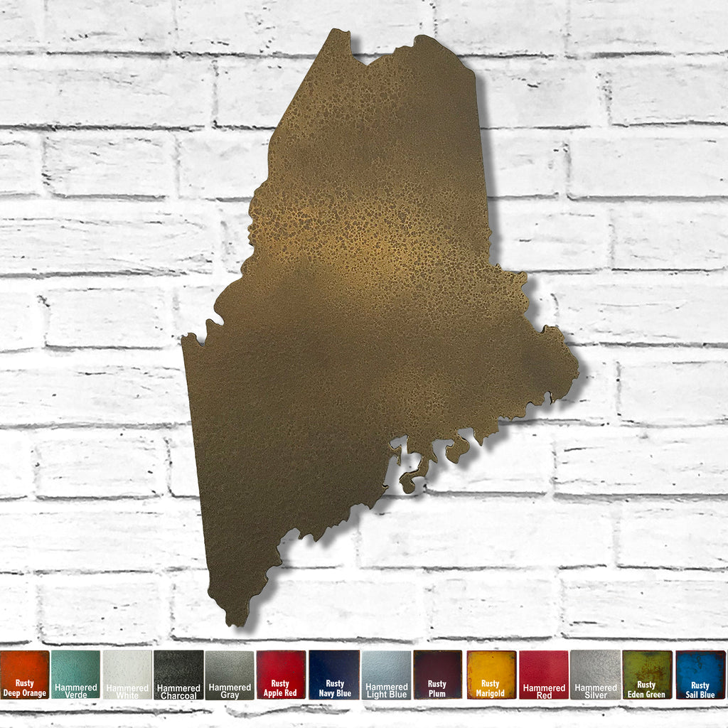 "Maine - Metal Wall Art Home Decor - Made in the USA - Choose 10"", 16"" or 22"" Tall - Choose your Patina Color! Choose any state FREE SHIPPING"