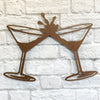 "Martini Glasses - Metal Wall Art Home Decor - Handmade in the USA - Choose 11"", 17"" or 24"" Wide - Choose your Patina Color! FREE SHIPPING"