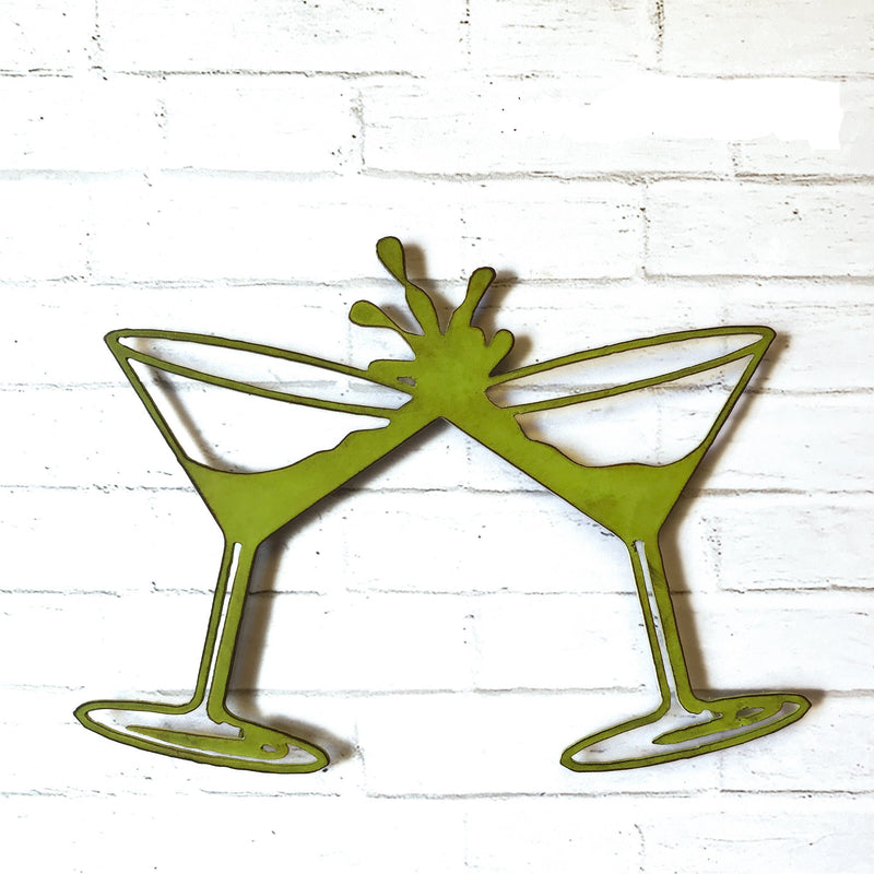 martini glasses shaped metal wall art home decor cutout handmade by Functional Sculpture llc