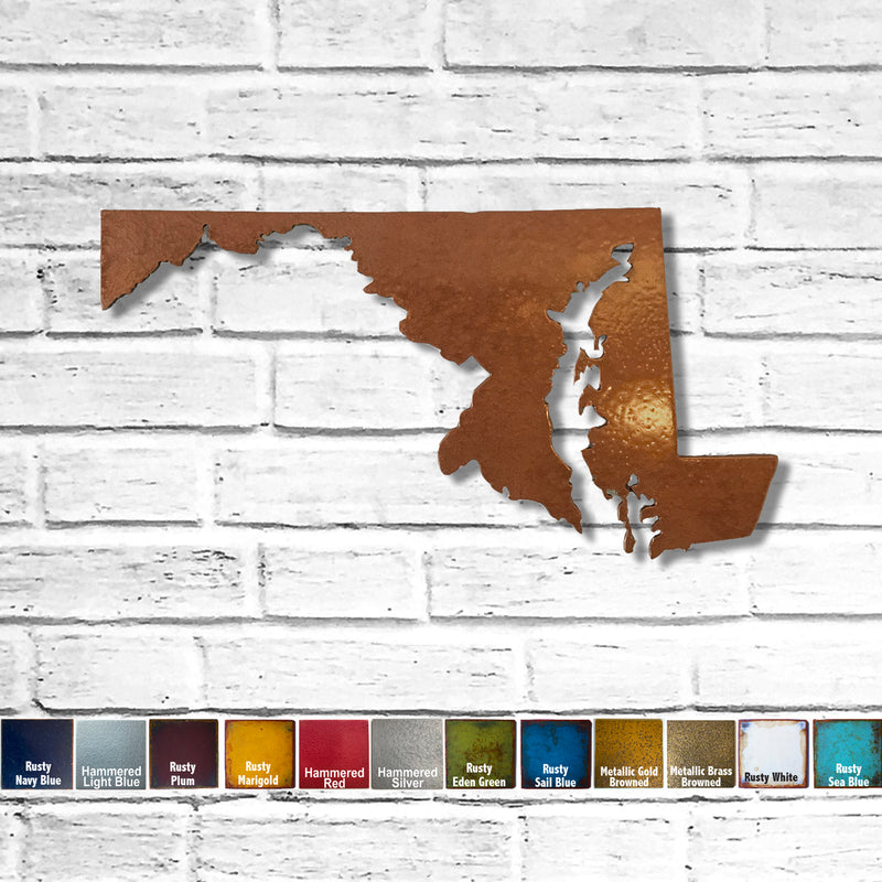 "Maryland - Metal Wall Art Home Decor - Handmade in the USA - Choose 12"", 17"" or 24"" Wide - Choose your Patina Color! Choose any state - FREE SHIP"