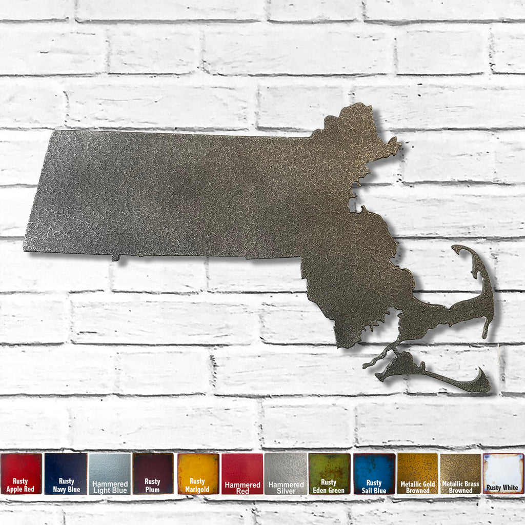 "Massachusetts - Metal Wall Art Home Decor - Handmade in the USA - Choose 12"", 17"" or 22"" Wide - Choose your Patina Color! Choose any state - FREE SHIP"