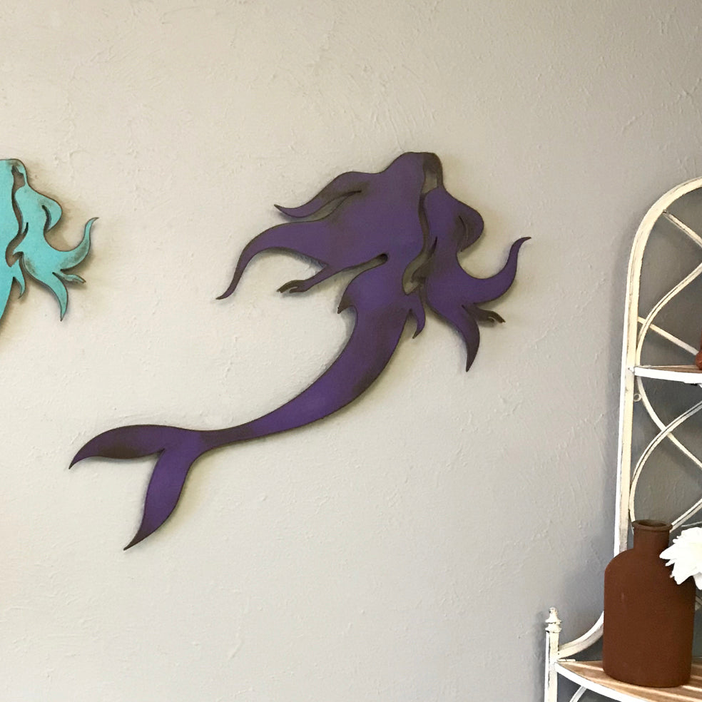 "Mermaid - Metal Wall Art Home Decor - Handmade in the USA - Choose 11"", 17"" or 23"" Tall - Choose your Patina Color - Free Ship"