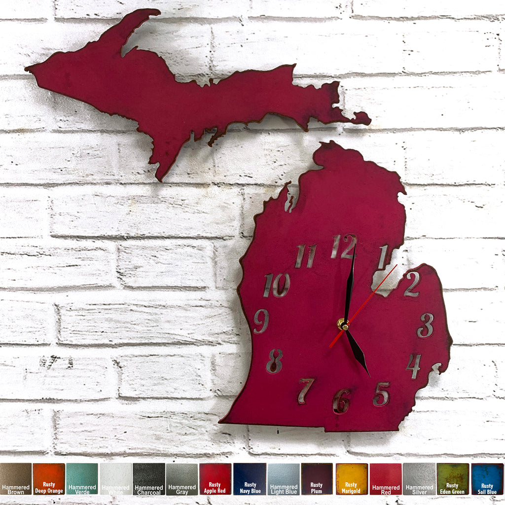 Michigan state map clock metal wall art home decor cutout handmade by Functional Sculpture llc