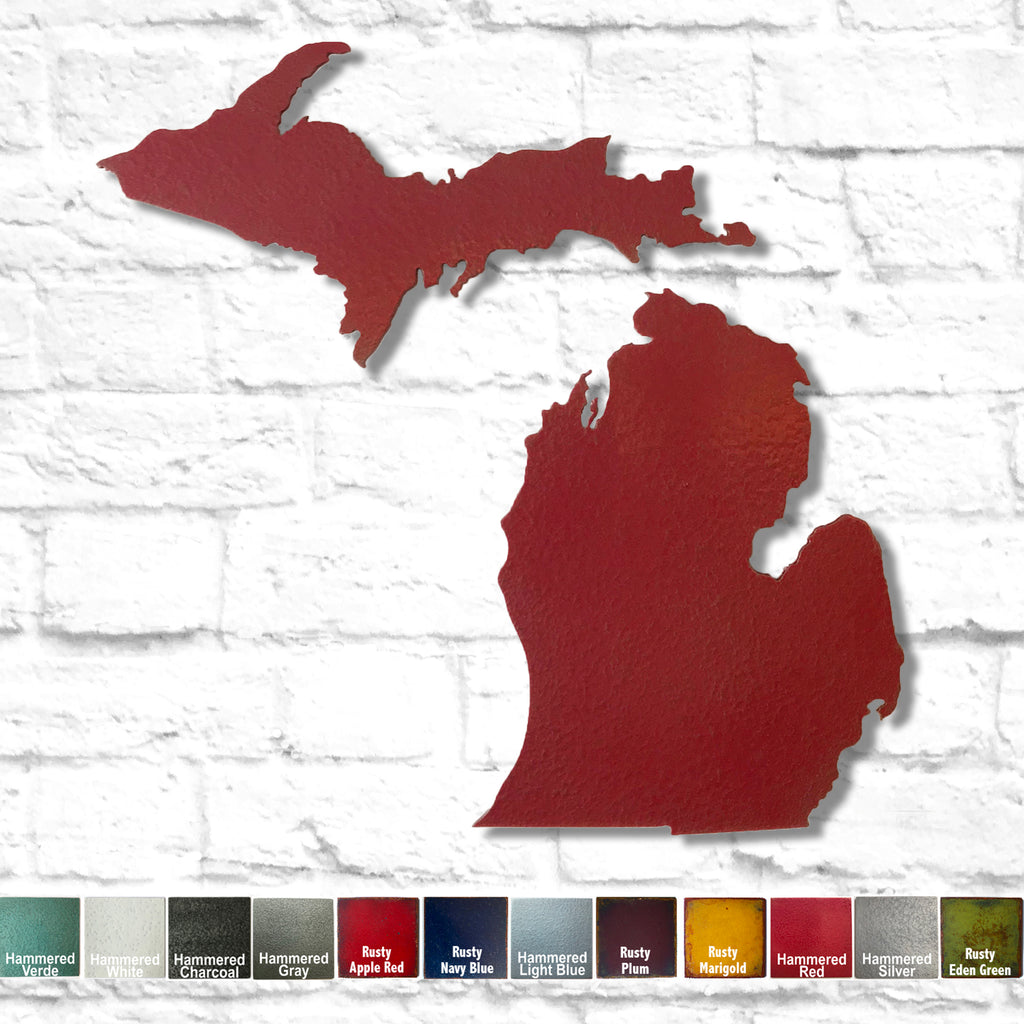 Michigan with upper Michigan map metal wall art home decor cutout handmade by Functional Sculpture LLC