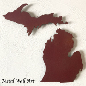 "Michigan and UP - Metal Wall Art Home Decor - Made in the USA - Choose 13"", 18"" or 24"" Tall - Choose your Patina Color! Choose any state - FREE SHIP"