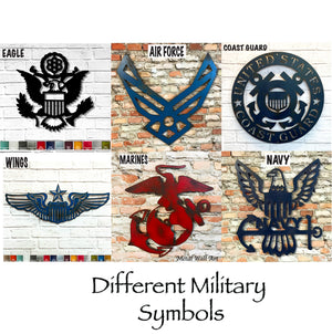 "Air Force Symbol - Metal Wall Art Home Decor - Handmade in the USA - Choose 12"", 17"" or 23"" Wide, Choose your Patina Color! FREE SHIP"