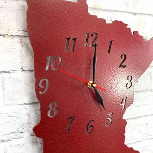 "Minnesota Metal Wall Art Clock - Italic Numbers -  Home Decor - Handmade in the USA - Choose 16"" or 22"" tall, Choose your Patina Color - Free Ship"