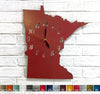 Minnesota map shaped clock metal wall art home decor cutout handmade by Functional Sculpture llc