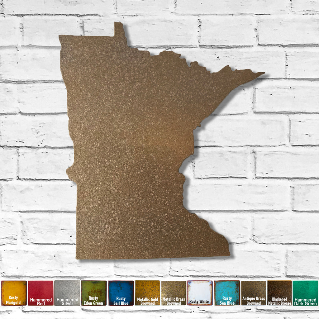 Minnesota map metal wall art home decor handmade by Functional Sculpture LLC