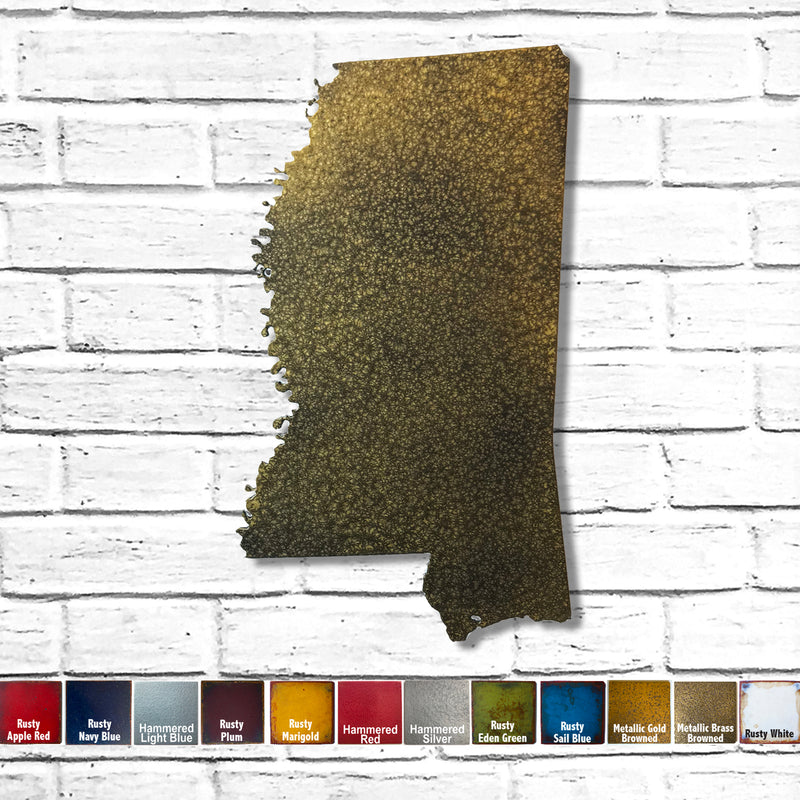 Mississippi map metal wall art home decor handmade by Functional Sculpture LLC