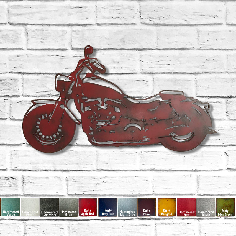 motorcycle Harley Davidson hog shaped metal wall art home decor cutout handmade by Functional Sculpture llc