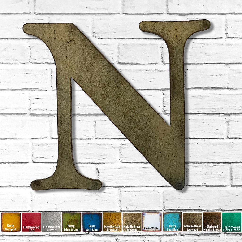 "Letter N - Metal Wall Art Home Decor - Made in the USA - Choose 10"", 12"" or 16"" Tall - Choose your Patina Color! Choose any letter FREE SHIPPING"
