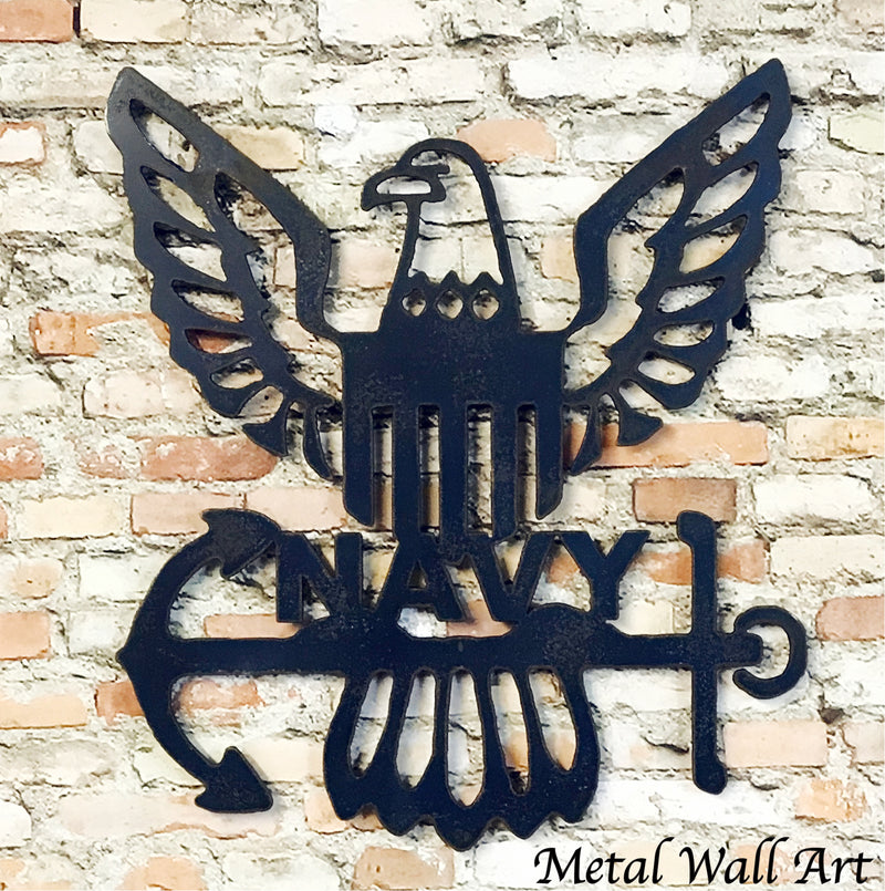 United States Navy symbol metal wall art home decor cutout handmade by Functional Sculpture llc