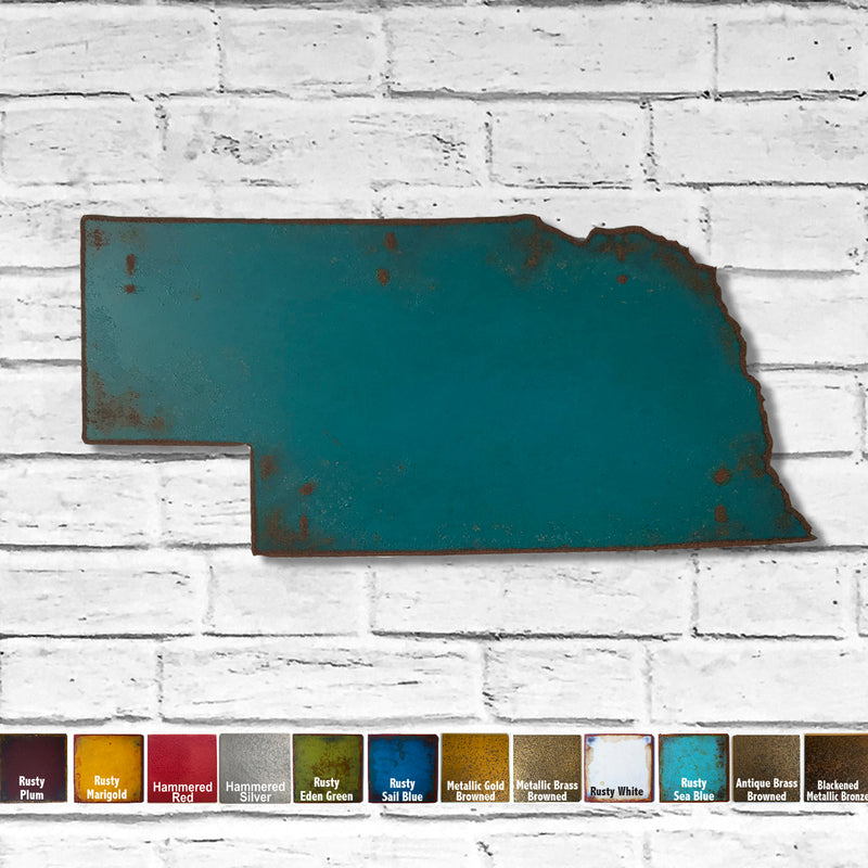 Nebraska map metal wall art home decor handmade by Functional Sculpture LLC