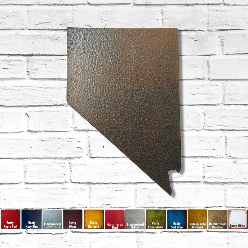 "Nevada - Metal Wall Art Home Decor - Made in the USA - Choose 10"", 16"" or 22"" Tall - Choose your Patina Color! Choose any state FREE SHIPPING"