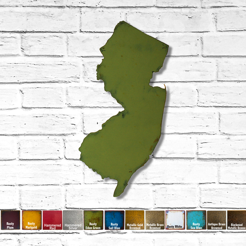 New Jersey map metal wall art home decor handmade by Functional Sculpture LLC
