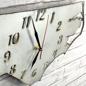 "North Carolina Metal Wall Art Clock - Italic Numbers - Home Decor - Handmade in the USA - Choose 17"" or 24"" wide, Choose your Patina Color - Free Ship"