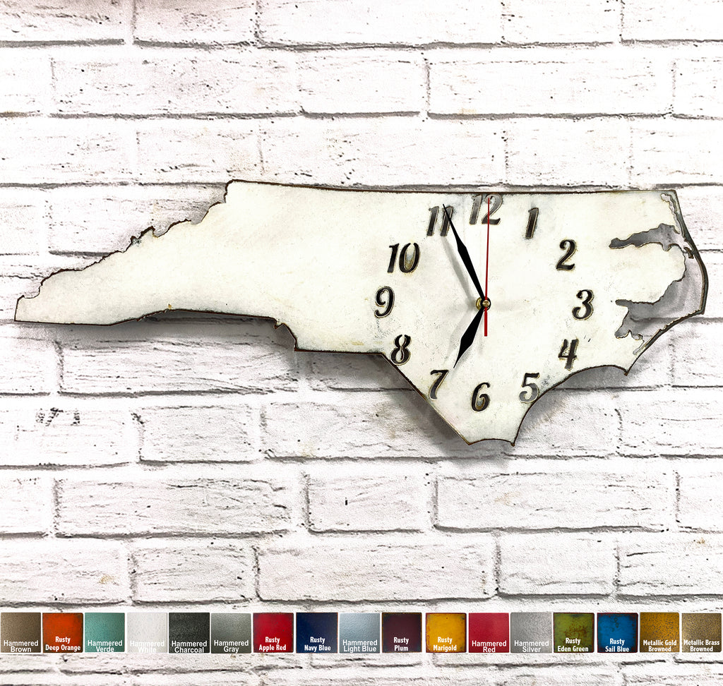 North Carolina metal wall art clock home decor cutout handmade by Functional Sculpture llc