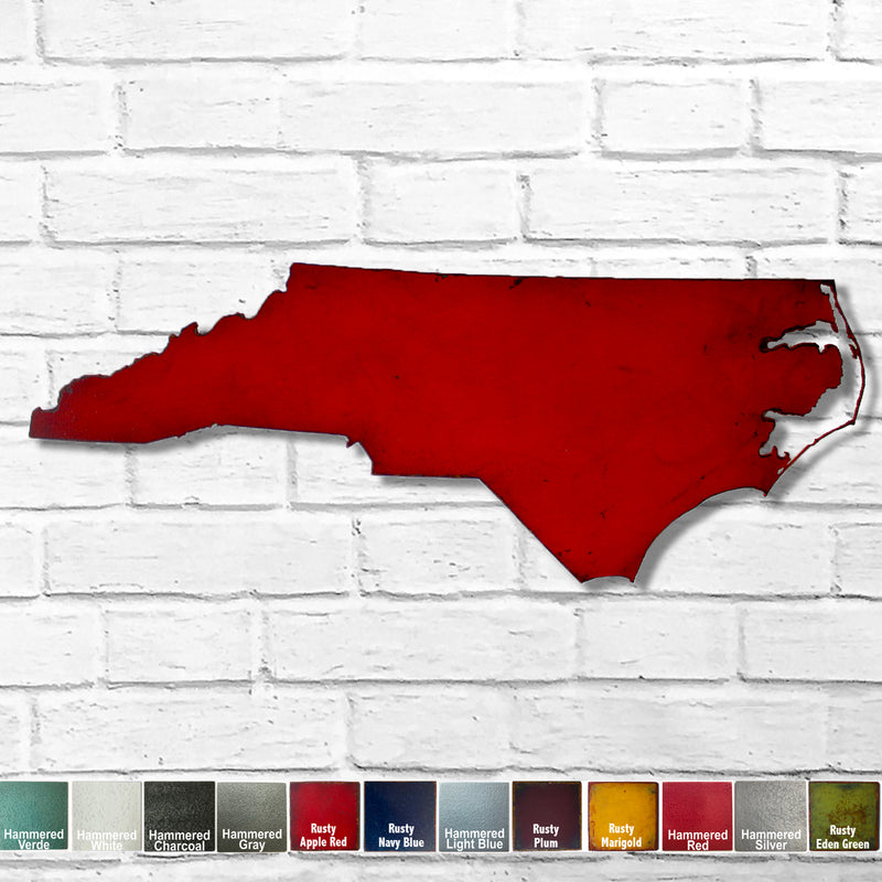 North Carolina map metal wall art home decor handmade by Functional Sculpture LLC