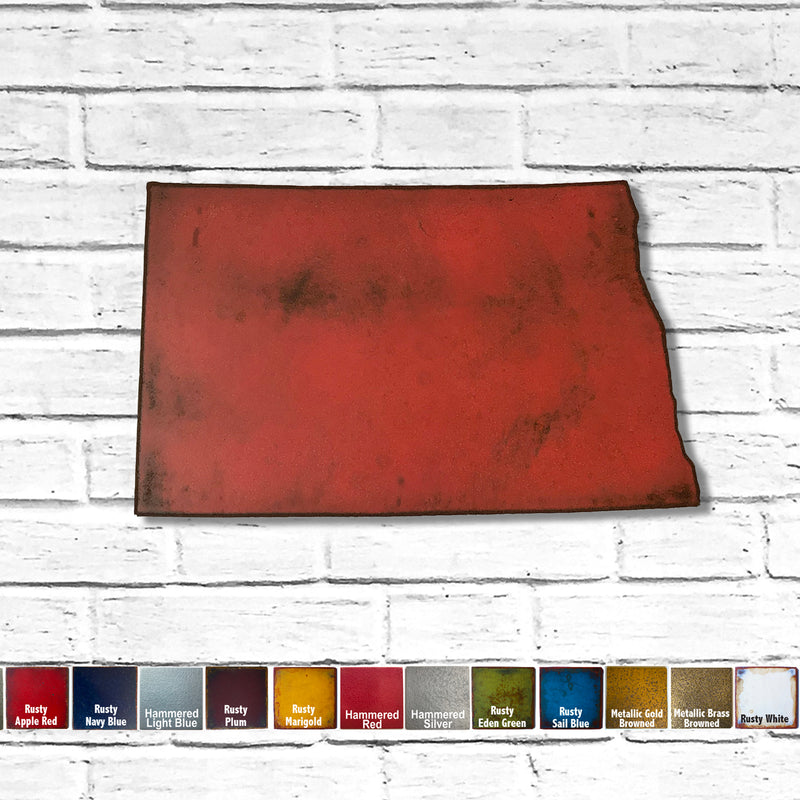 "North Dakota - Metal Wall Art Home Decor - Made in the USA - Choose 10"", 16"" or 22"" Wide - Choose your Patina Color! Choose any state - FREE SHIP"