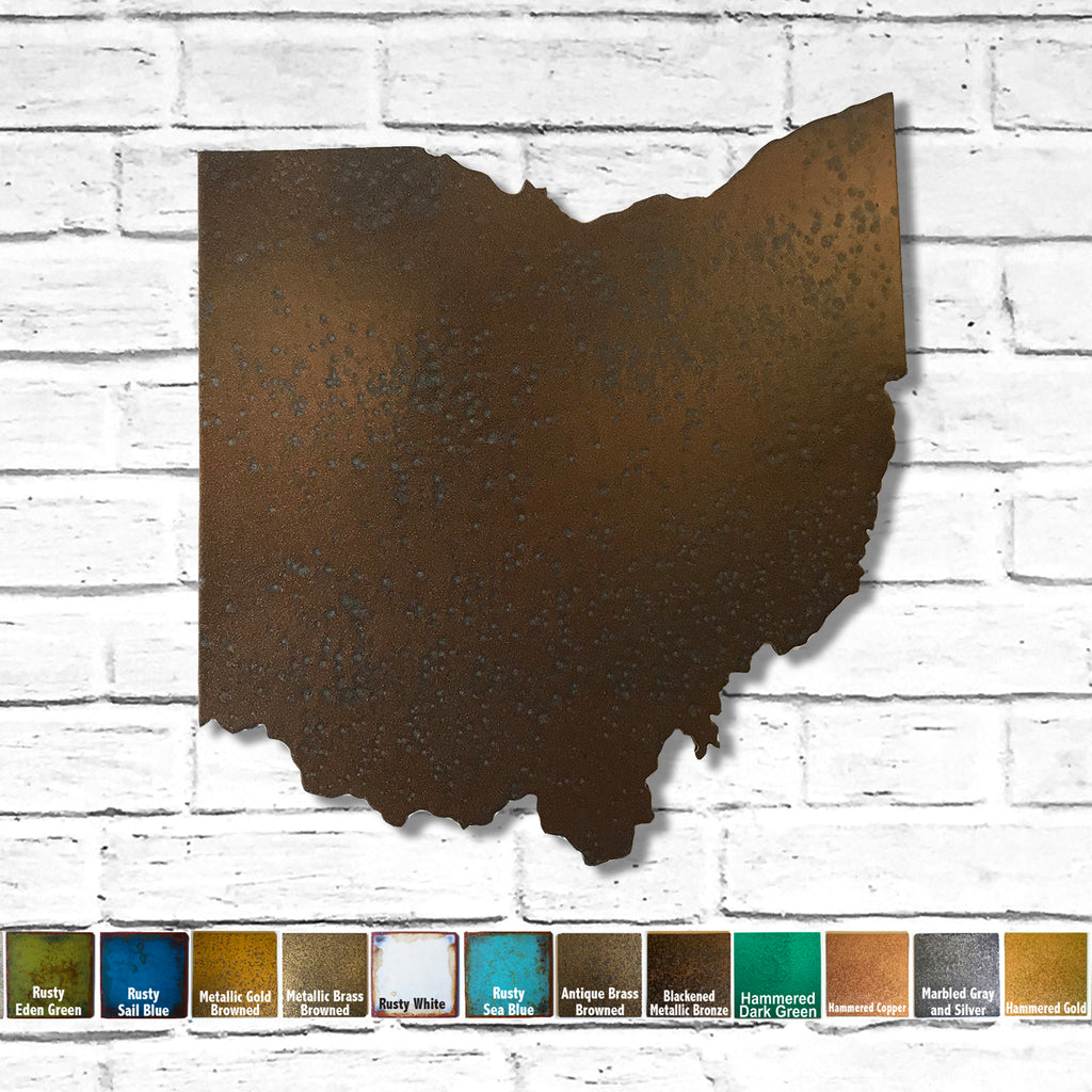 Ohio map metal wall art home decor handmade by Functional Sculpture LLC