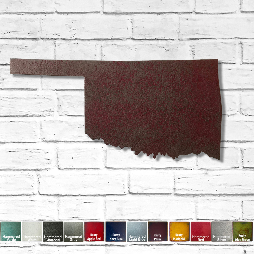 "Oklahoma - Metal Wall Art Home Decor - Handmade in the USA - Choose 11"", 17"" or 23"" Wide - Choose your Patina Color! Choose any State Free Ship"