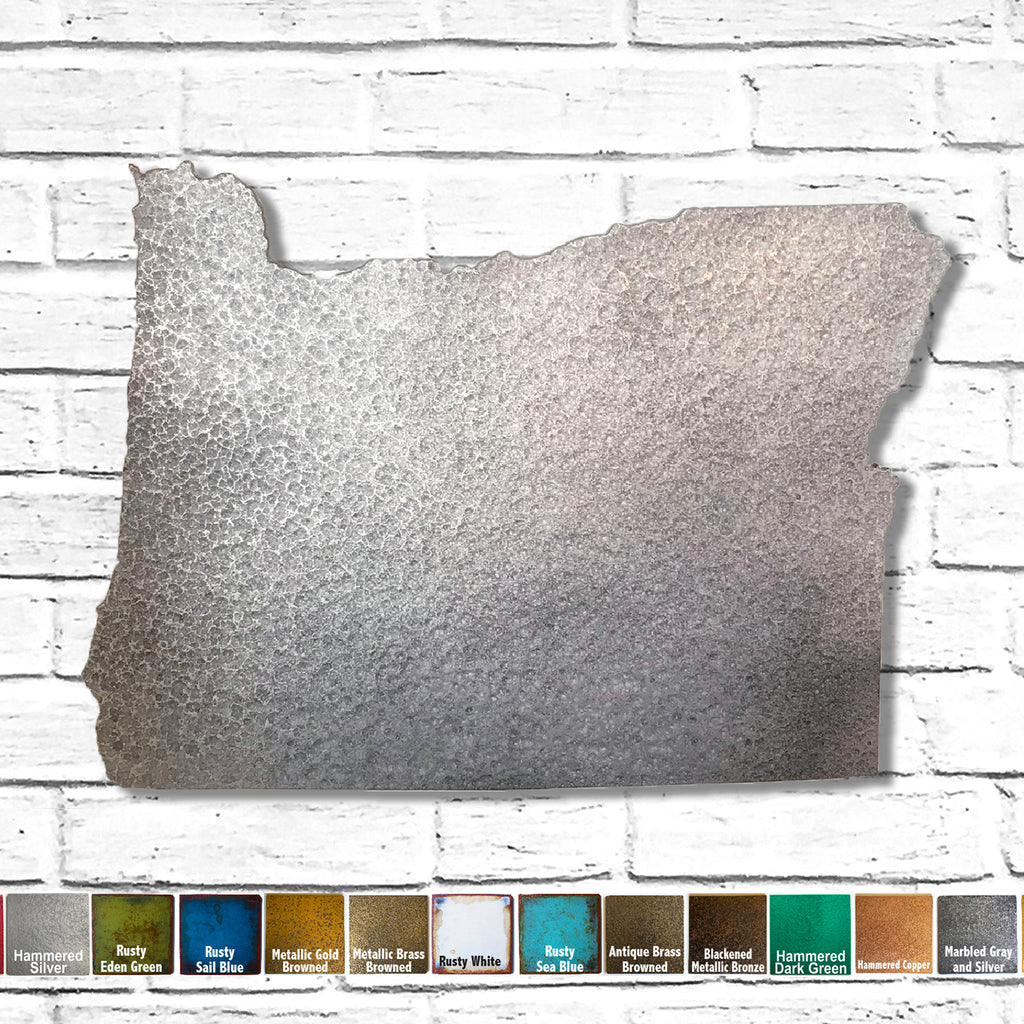 "Oregon - Metal Wall Art Home Decor - Made in the USA - Choose 10"", 16"" or 22"" Wide - Choose your Patina Color! Choose any state - FREE SHIP"