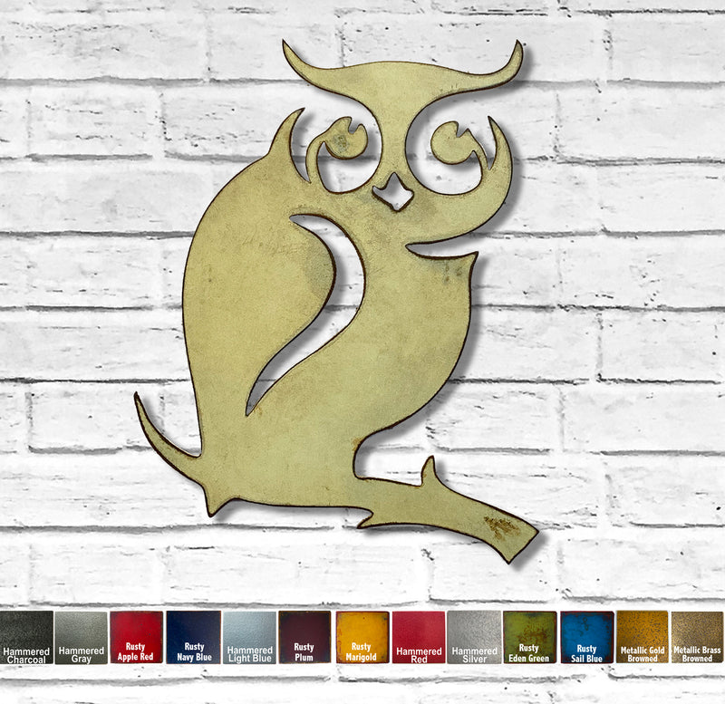 Owl on Branch - Metal Wall Art Home Decor - Handmade in the USA - Choose 7