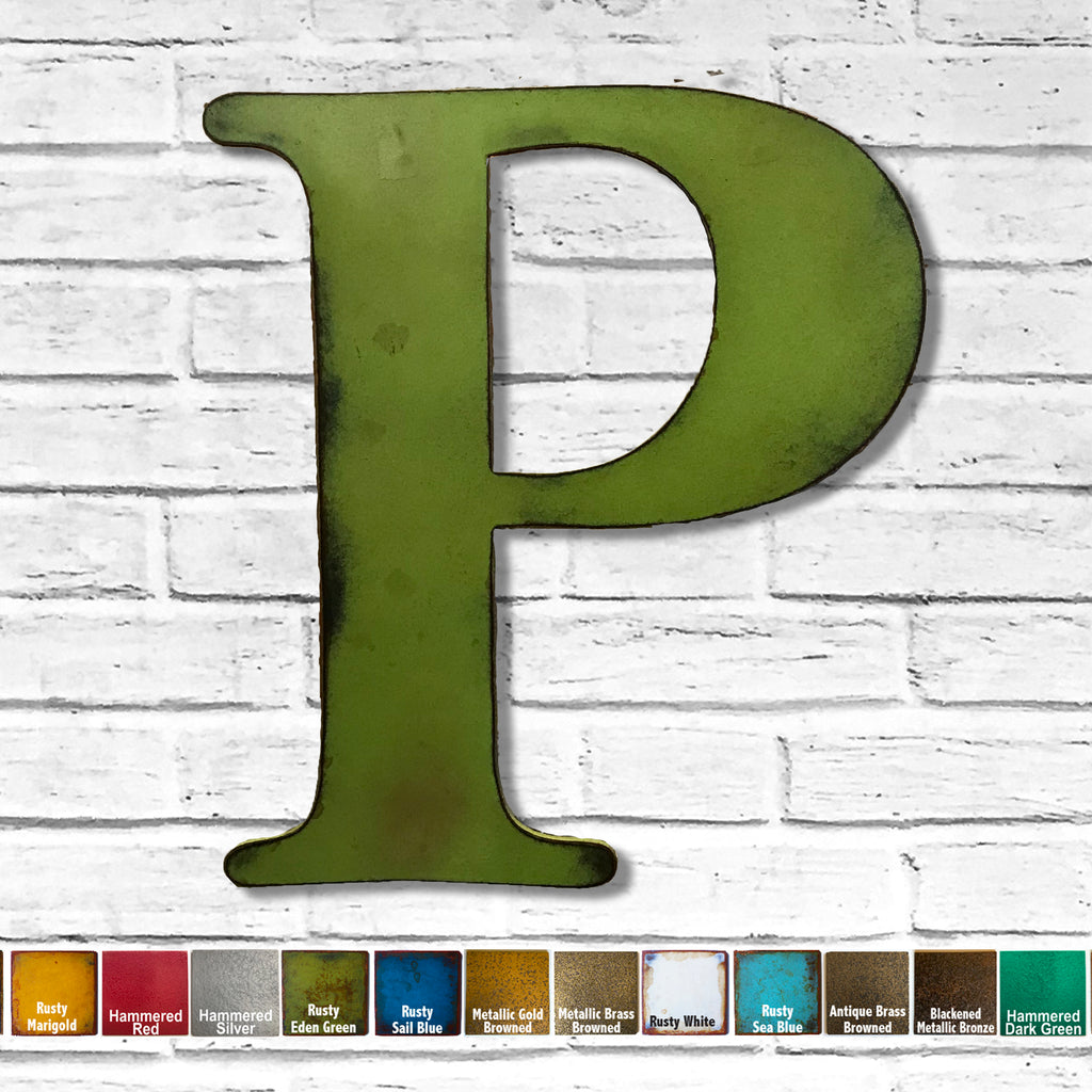 bell mt font letter p metal wall art home decor cutout handmade by Functional Sculpture llc