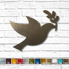peace dove with olive branch metal wall art home decor cutout handmade by Functional Sculpture llc