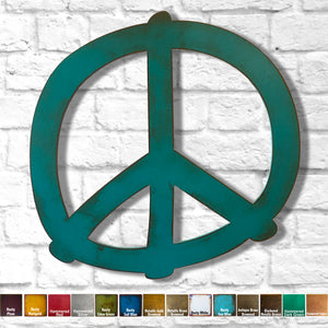 peace symbol shaped metal wall art home decor cutout handmade by Functional Sculpture llc