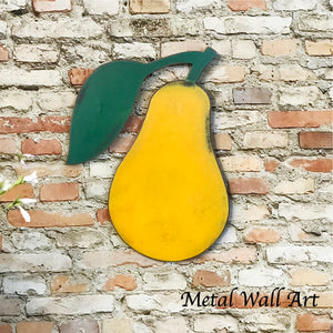 pear fruit shaped metal wall art home decor cutout handmade by Functional Sculpture llc